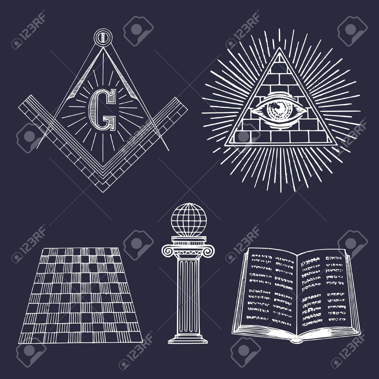 Vector Masonic Symbols Set Sacred Society Icons Freemasonry