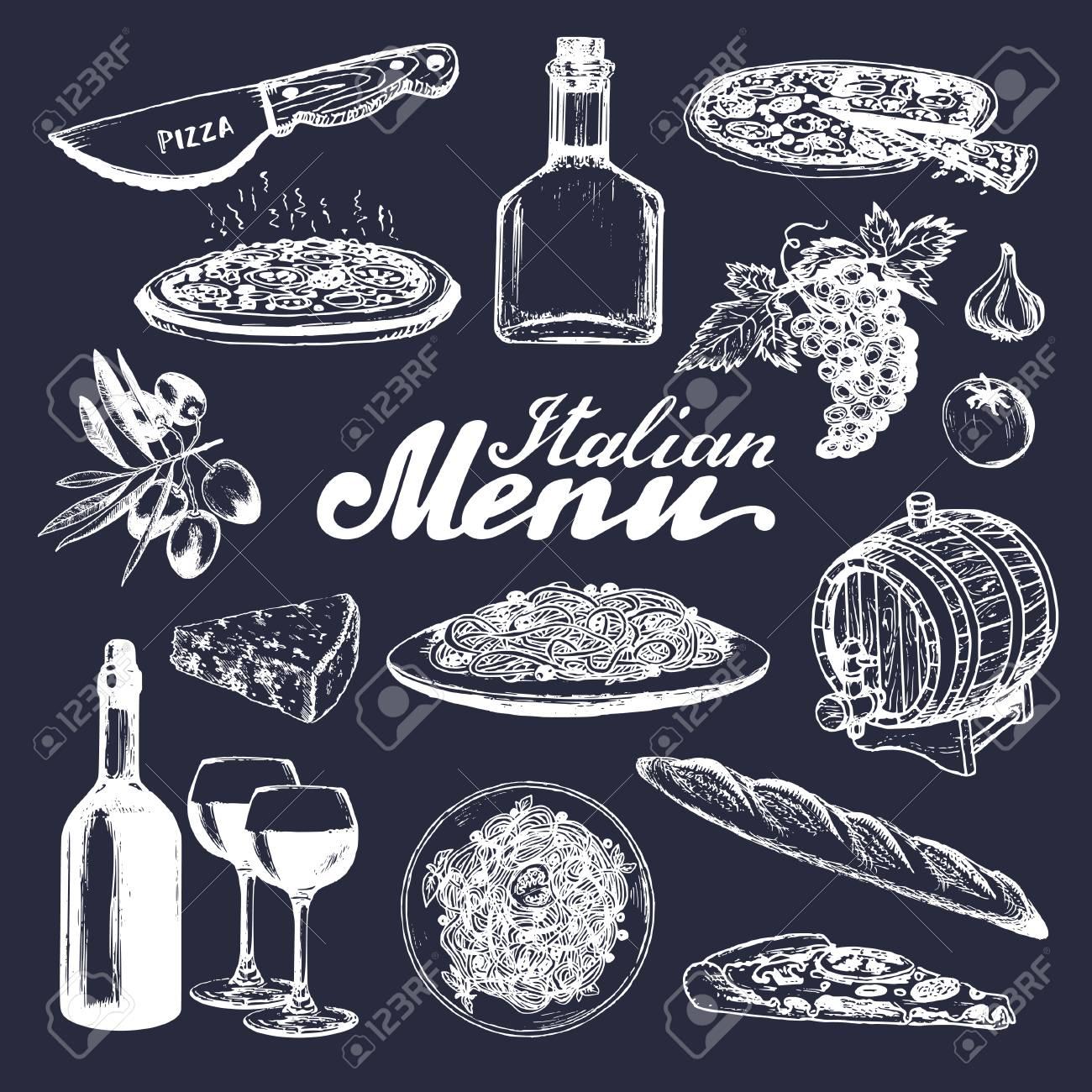 Italienische Küche Menü. Hand Skizziert Traditionelle Südeuropa ...