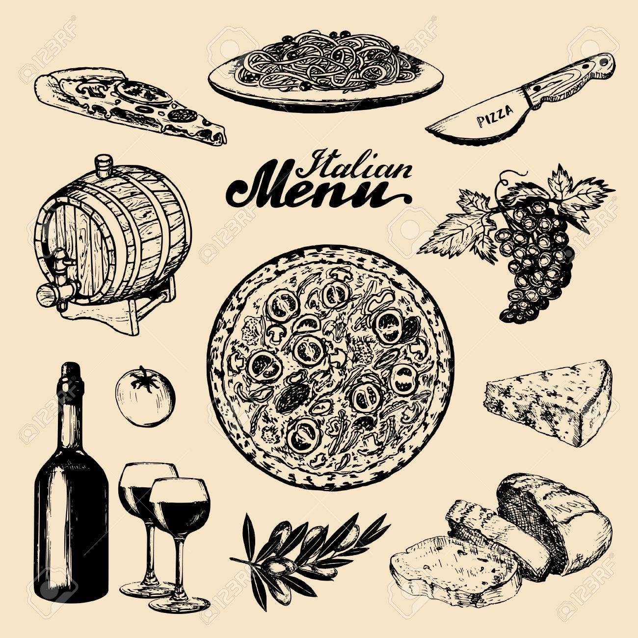 Italienische Küche Menu.Sketched Traditionellen Südeuropa Essen Und ...