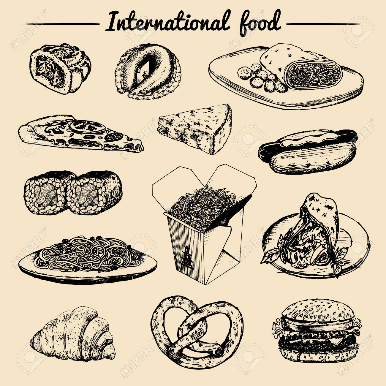 Vector International Food Menufusion Küche Cartevintage Hand