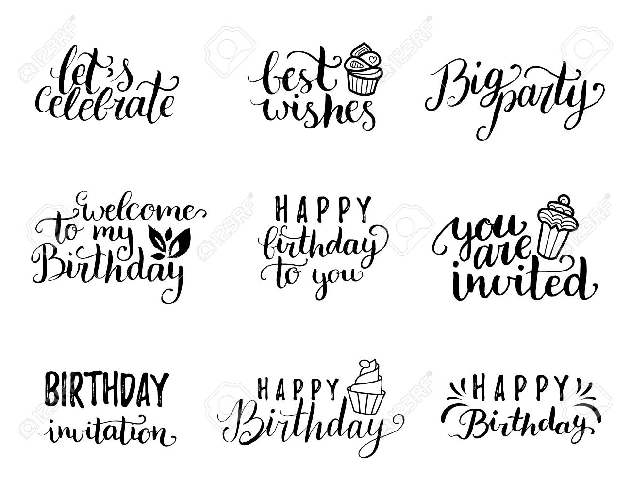 Vector Happy Birthday Hand Lettering Collection Big Party Best