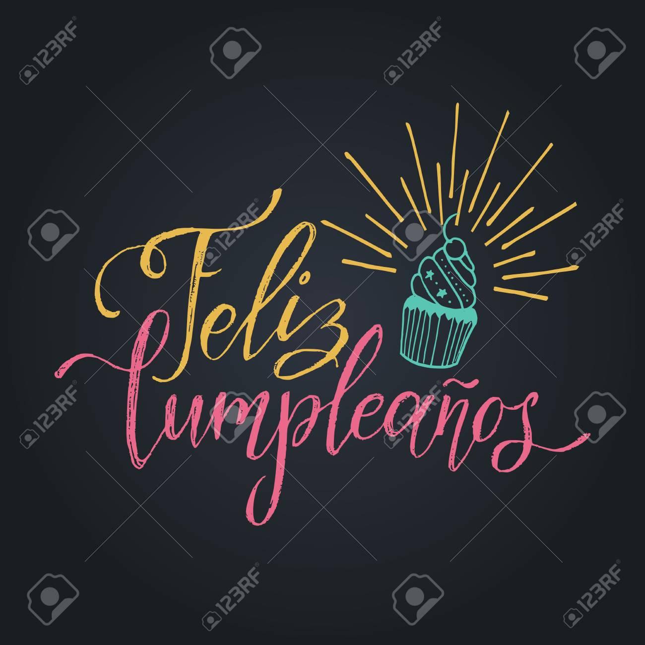 Vector Feliz Cumpleanos Translated Happy Birthday Lettering
