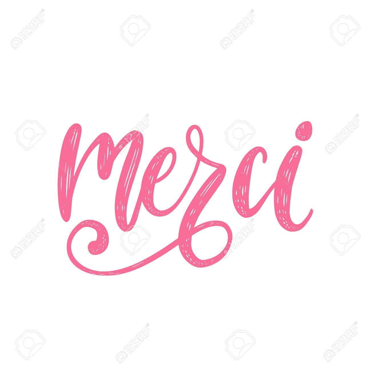 Vector Merci Caligrafia Tradução Francesa De Frase De Agradecimento Letras De Mão Da Palavra Gratidão