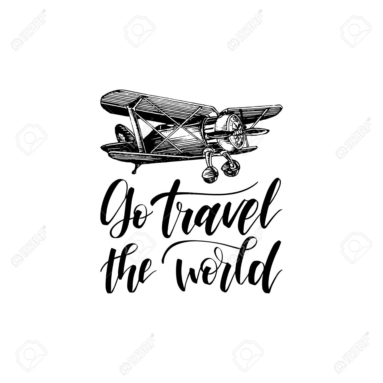 go travel the world hand lettering vector travel label template