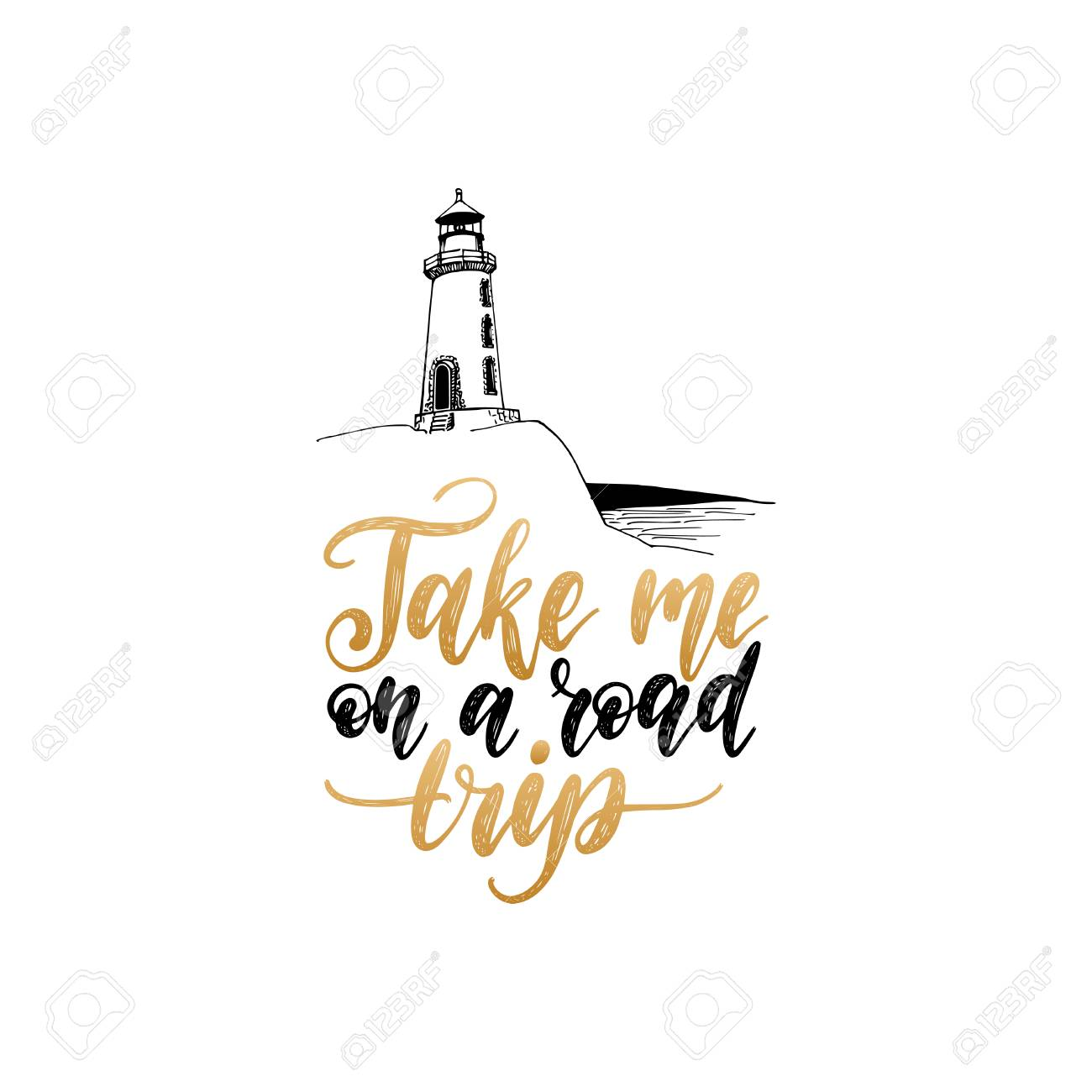 c3305796a5113 Take Me In A Road Trip hand lettering. Vector travel label template with hand  drawn