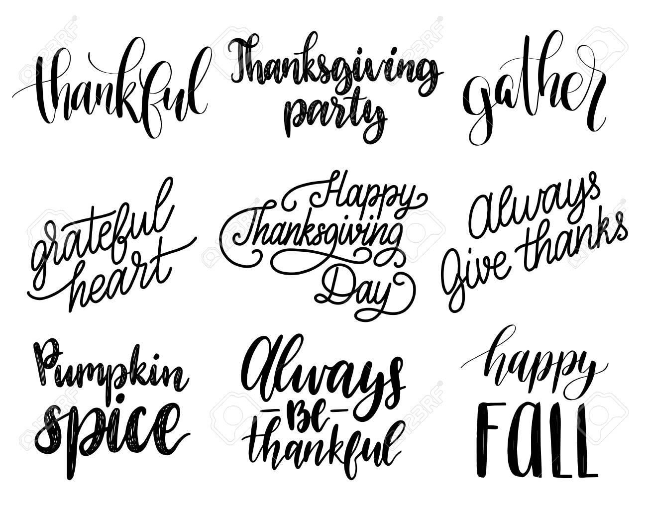 Vector De Acción De Gracias Letras Para Invitaciones O Tarjetas De Felicitación Festivas Conjunto De Caligrafía Manuscrita De Be Thankful Etc
