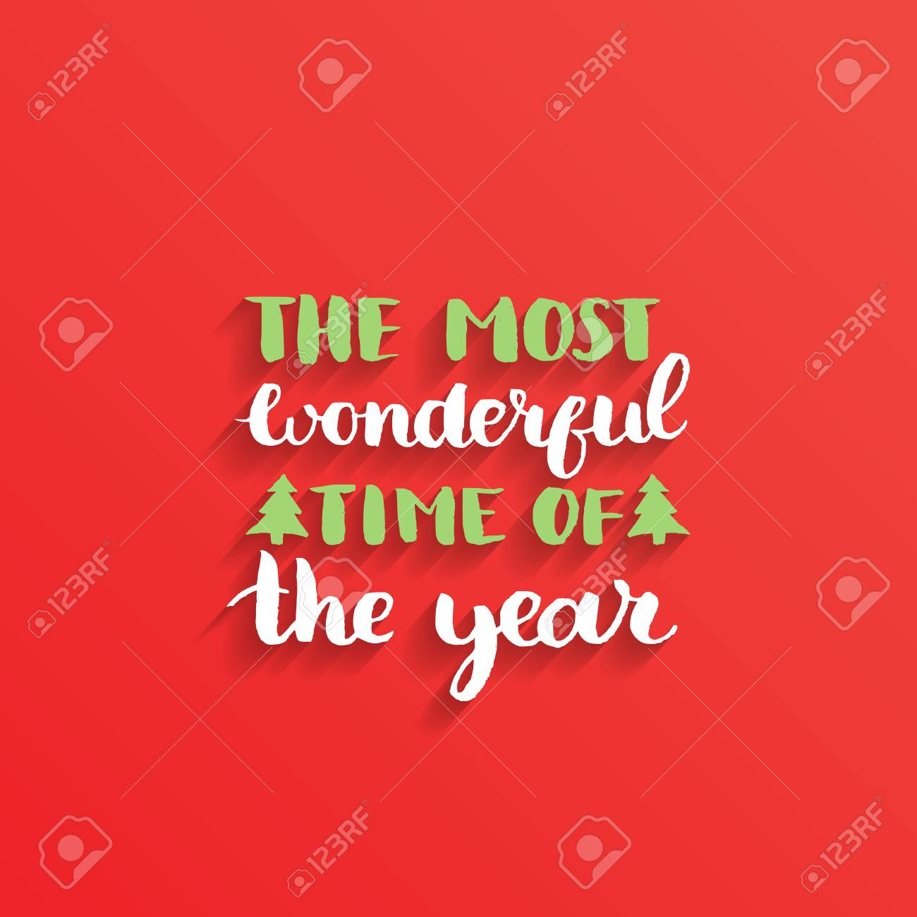El diseño de letras del tiempo más maravilloso del año sobre fondo rojo   Vector de Navidad o año nuevo tipografía