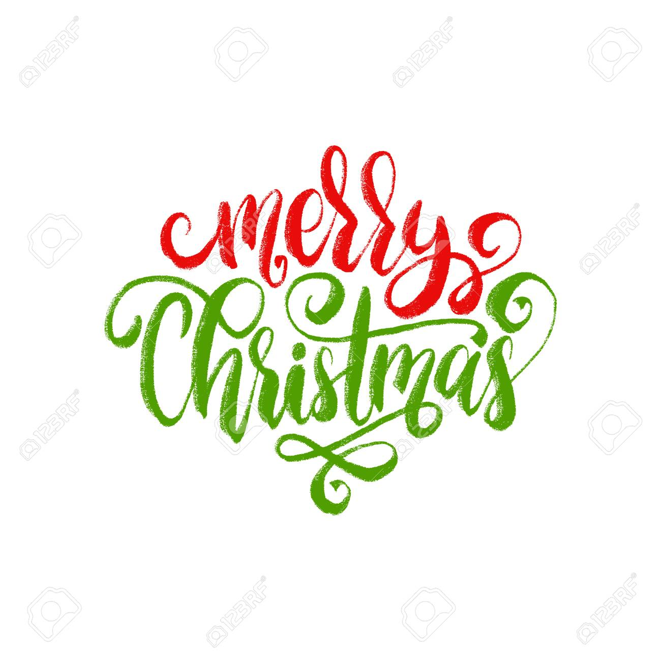 Merry Christmas Lettering.Merry Christmas Lettering Vector Calligraphic Illustration