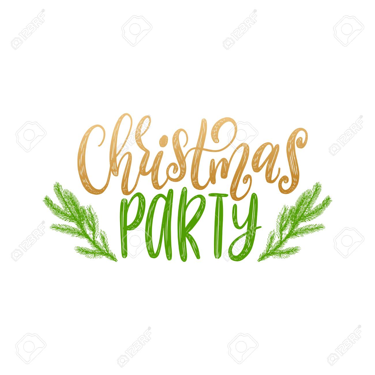 Vector Christmas Party Lettering. Happy Holidays Greeting Card ...