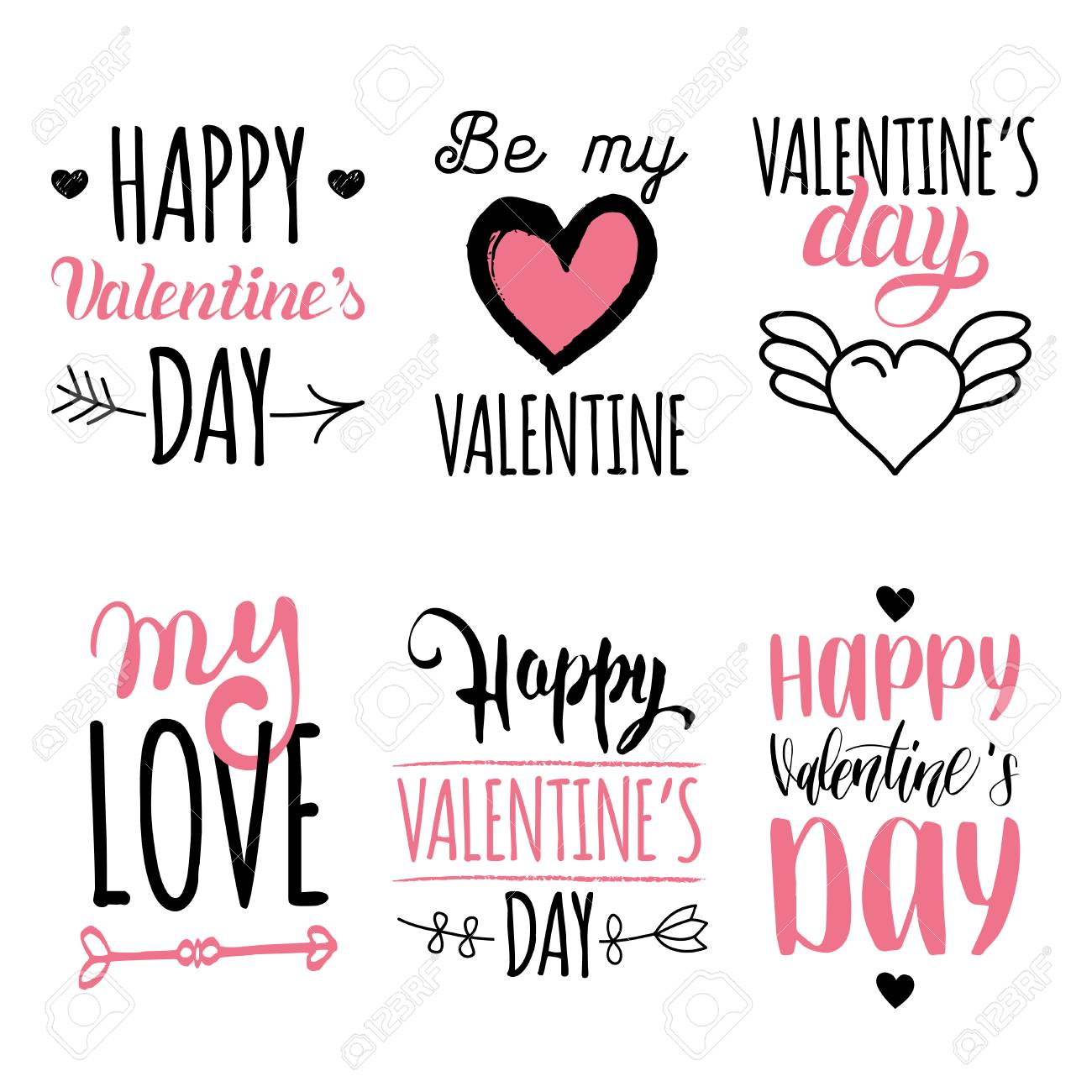 Valentine S Day Vector Hand Lettering Set February 14 Calligraphy