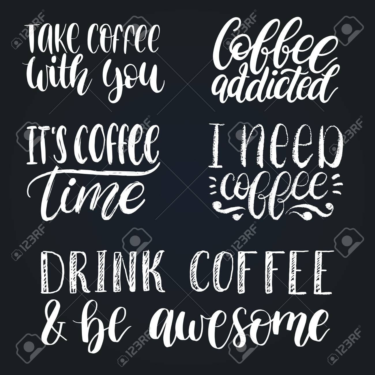handwritten vector coffee phrases set quotes typography