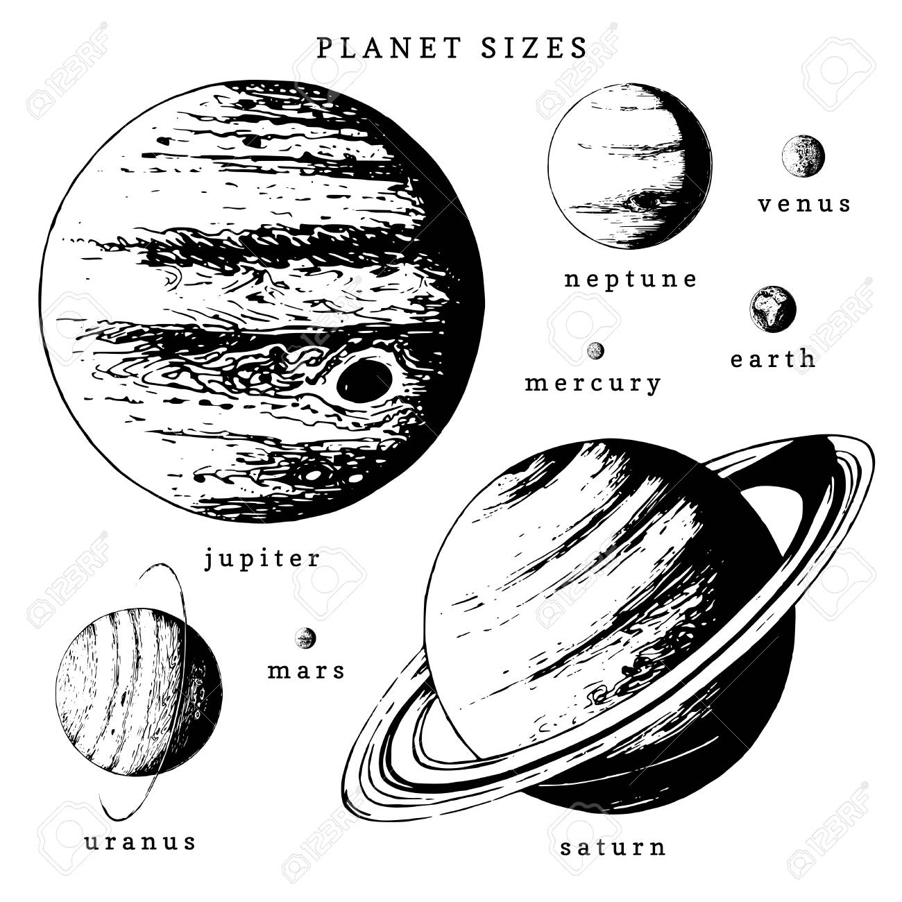 Solar system infographics in vector. Hand drawn illustration of planets in size comparison - 97323970