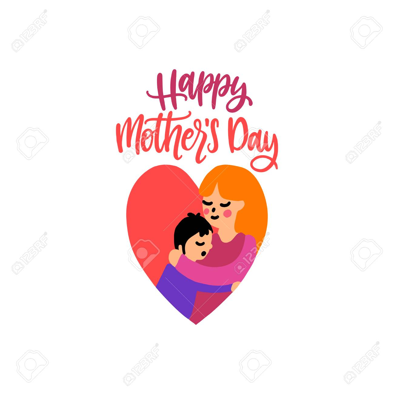 Happy Mothers Day Vector Hand Lettering Illustration Of Mother