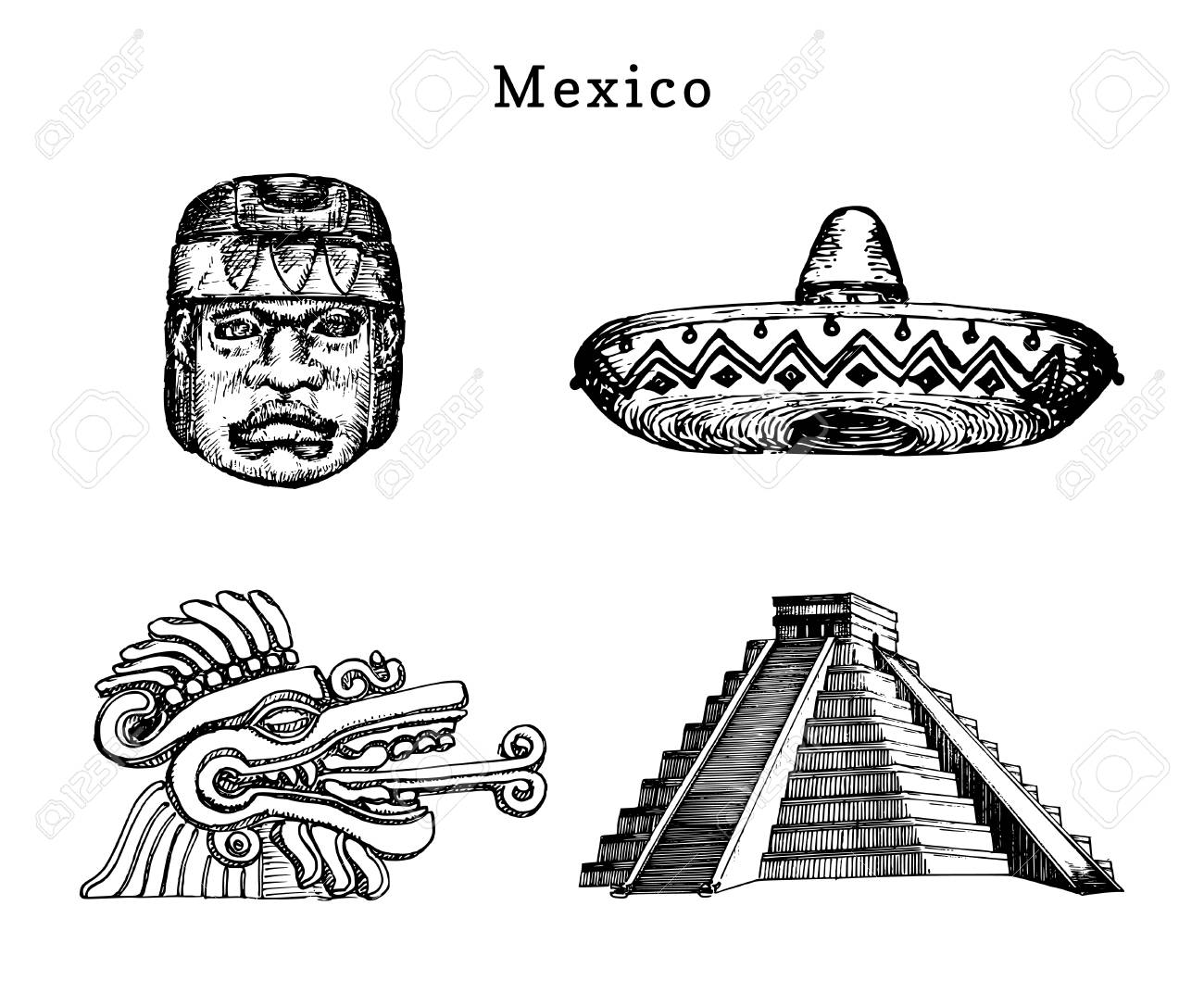 Drawn Set Of Famous Mexican Attractions Vector Illustrations