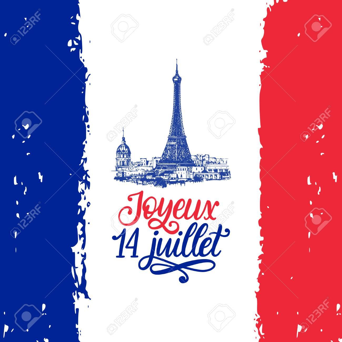 Joyeux 14 Juillet, hand lettering. Phrase translated from French Happy 14th July. Bastille Day illustration. - 103628864