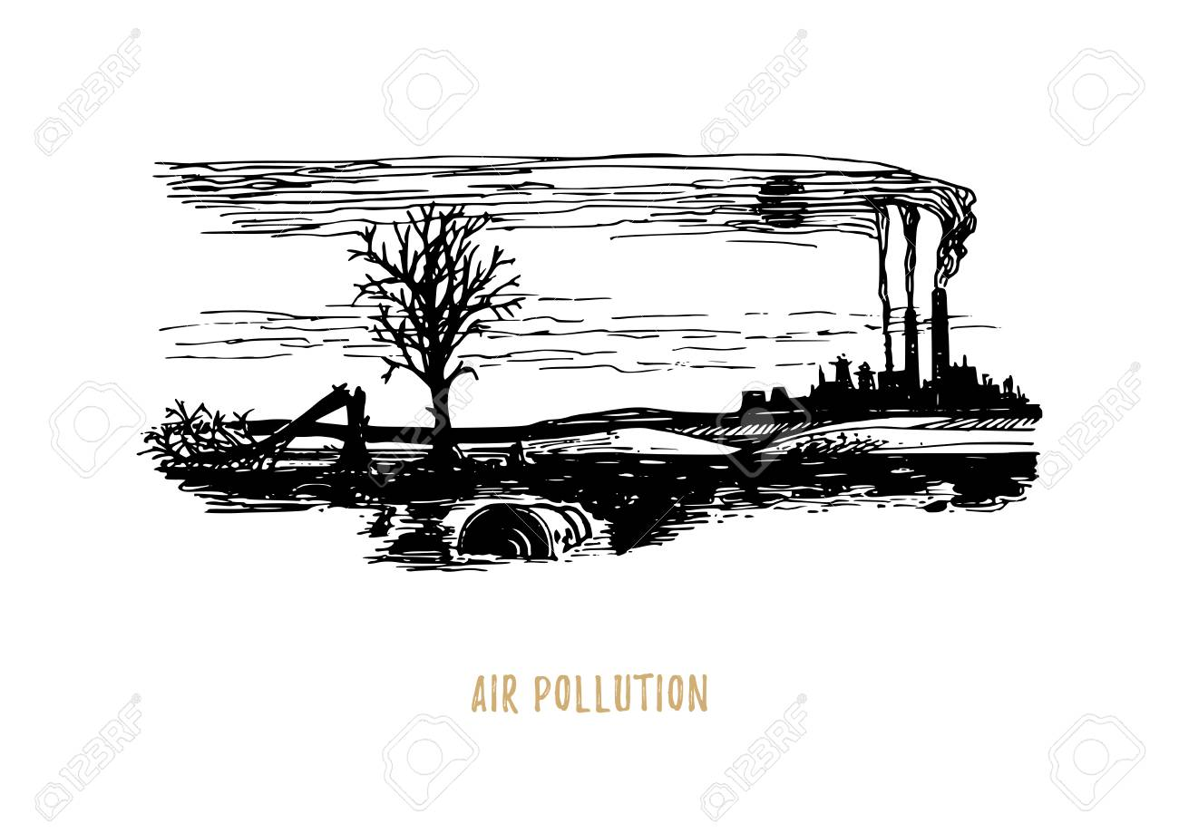 Air pollution illustration drawn sketch of contamination environment