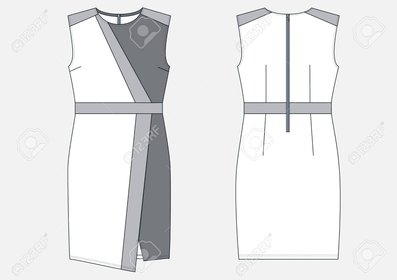 Fashion Technical Sketch Of Women Middle Dress In Vector Royalty
