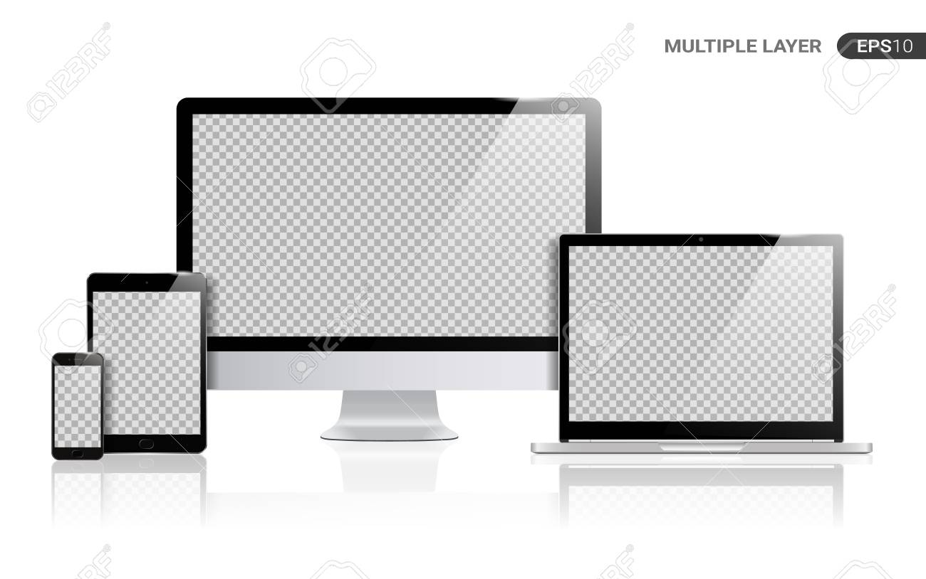 Realistic Computer, Laptop, Tablet and Smartphone with transparent Wallpaper Screen Isolated on white. Set of Device Mockup Separate Groups and Layers. Easily Editable Vector. - 111016391