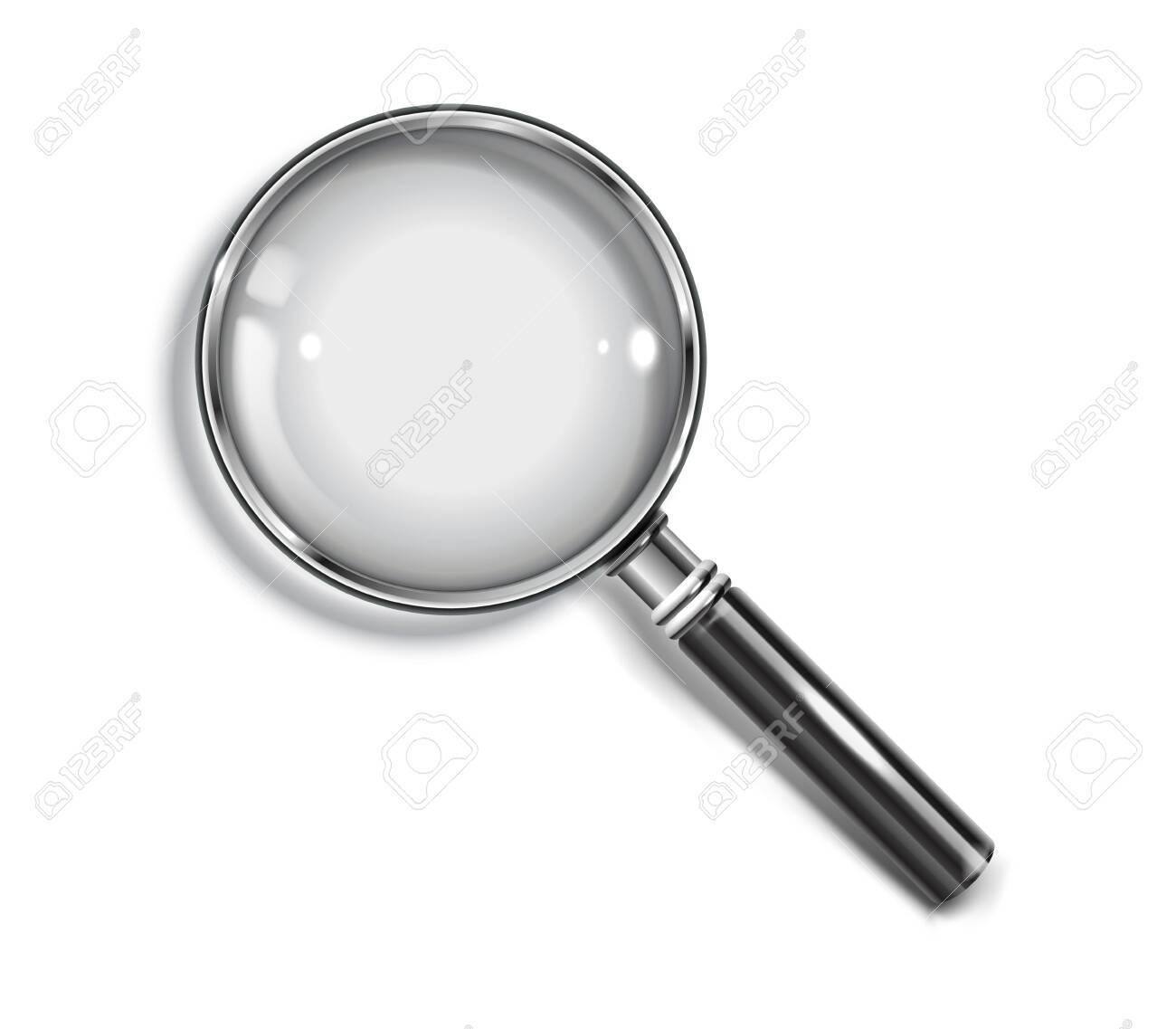 Realistic Magnifying glass with drop shadow on a transparent background - stock vector EPS 10. - 143892068