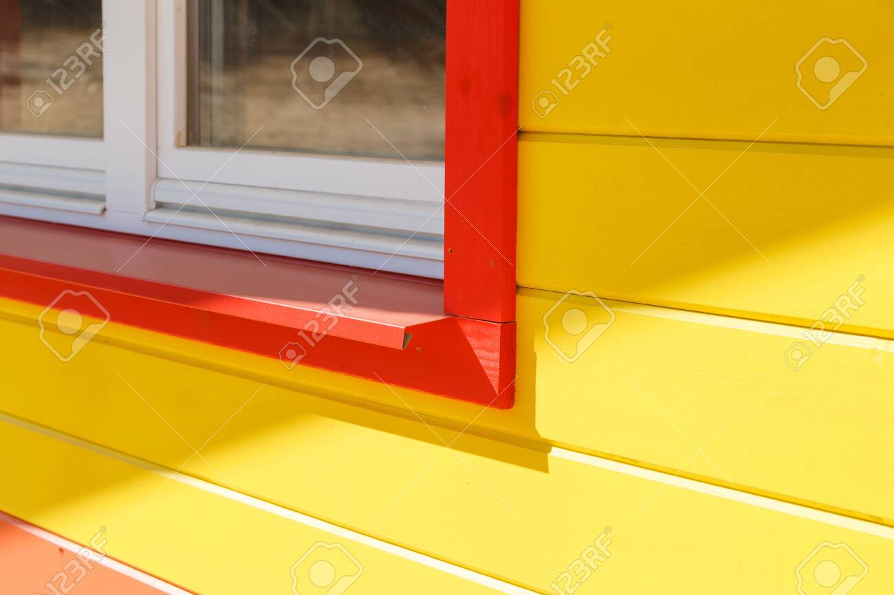 Red Steel Outdoor Window Sill Stock Photo Picture And Royalty