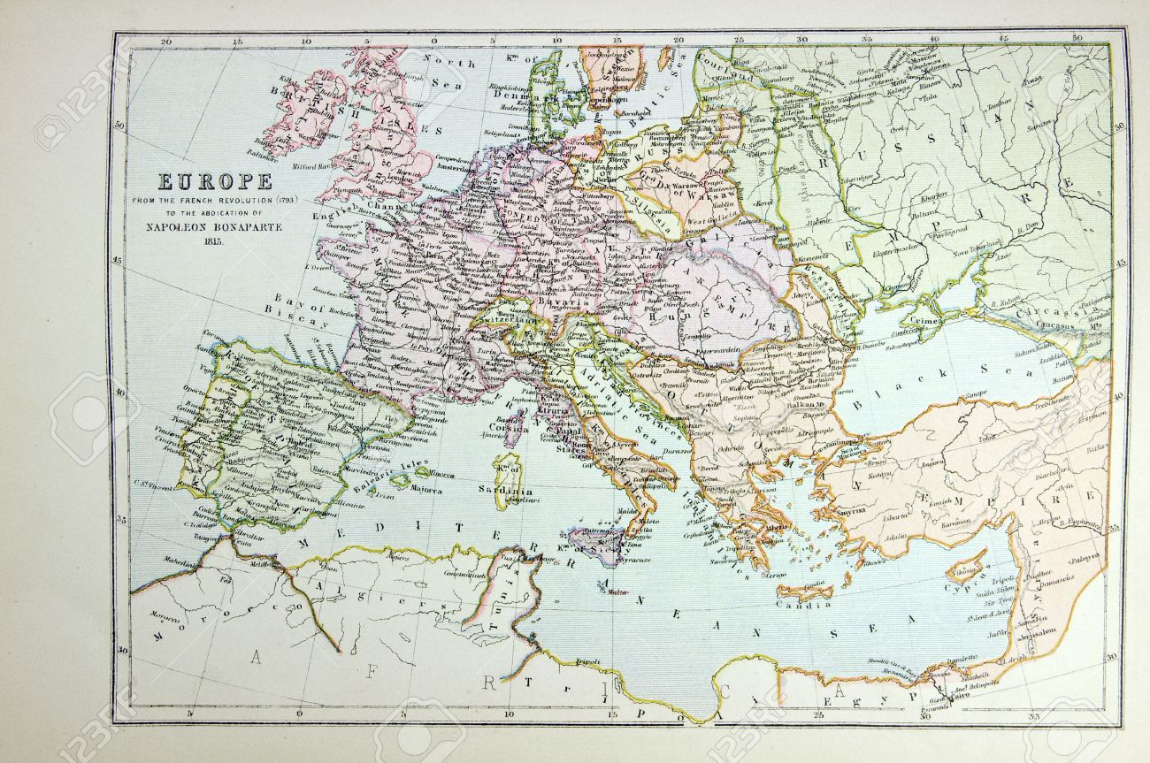 Historical Map Of Europe time Of Napoleon Photo From Atlas – Europe Atlas Map