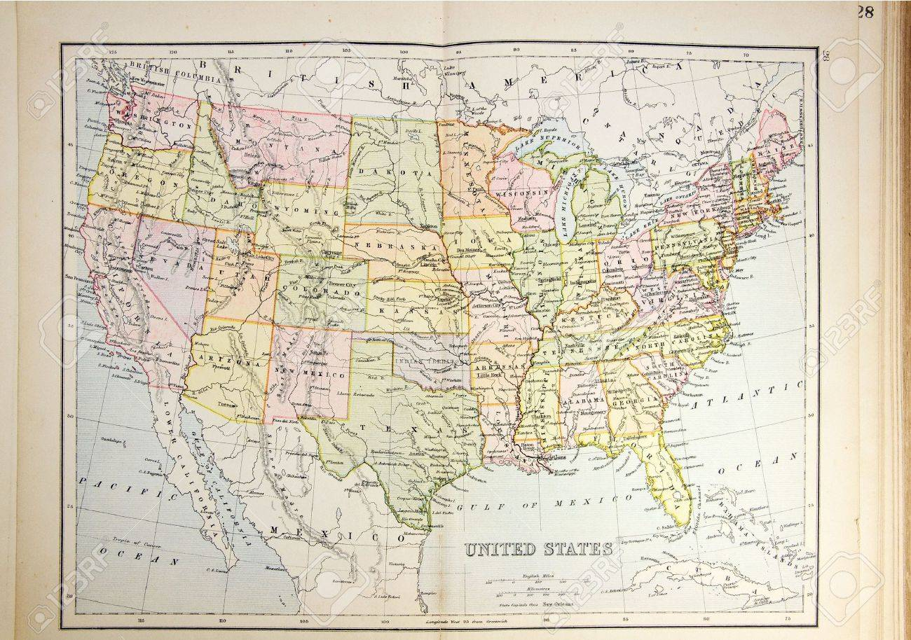 Historical map of USA. Photo from atlas published in 1879 in..