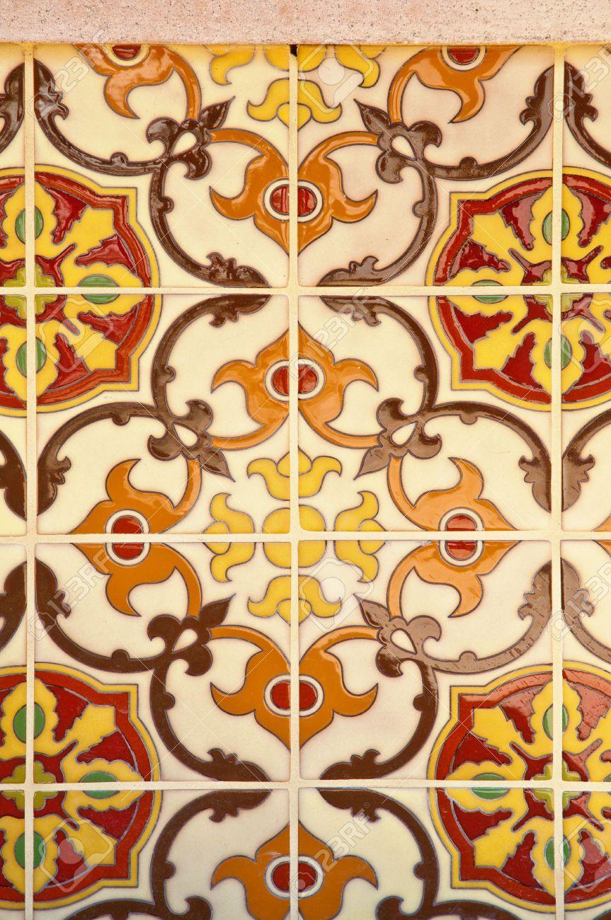Colorful vintage spanish style ceramic tiles wall decoration Stock Photo   7510340. Colorful Vintage Spanish Style Ceramic Tiles Wall Decoration Stock