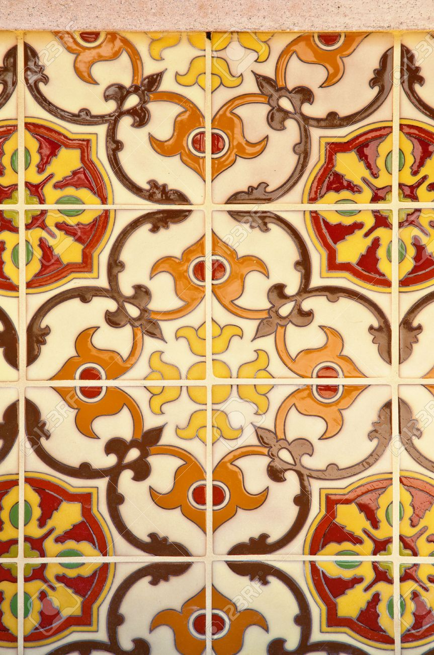 Colorful Vintage Spanish Style Ceramic Tiles Wall Decoration Stock ...