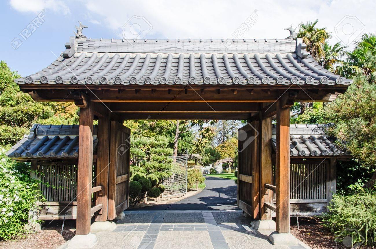 Japanese Garden Gate japanese garden in california - entrance gate stock photo, picture