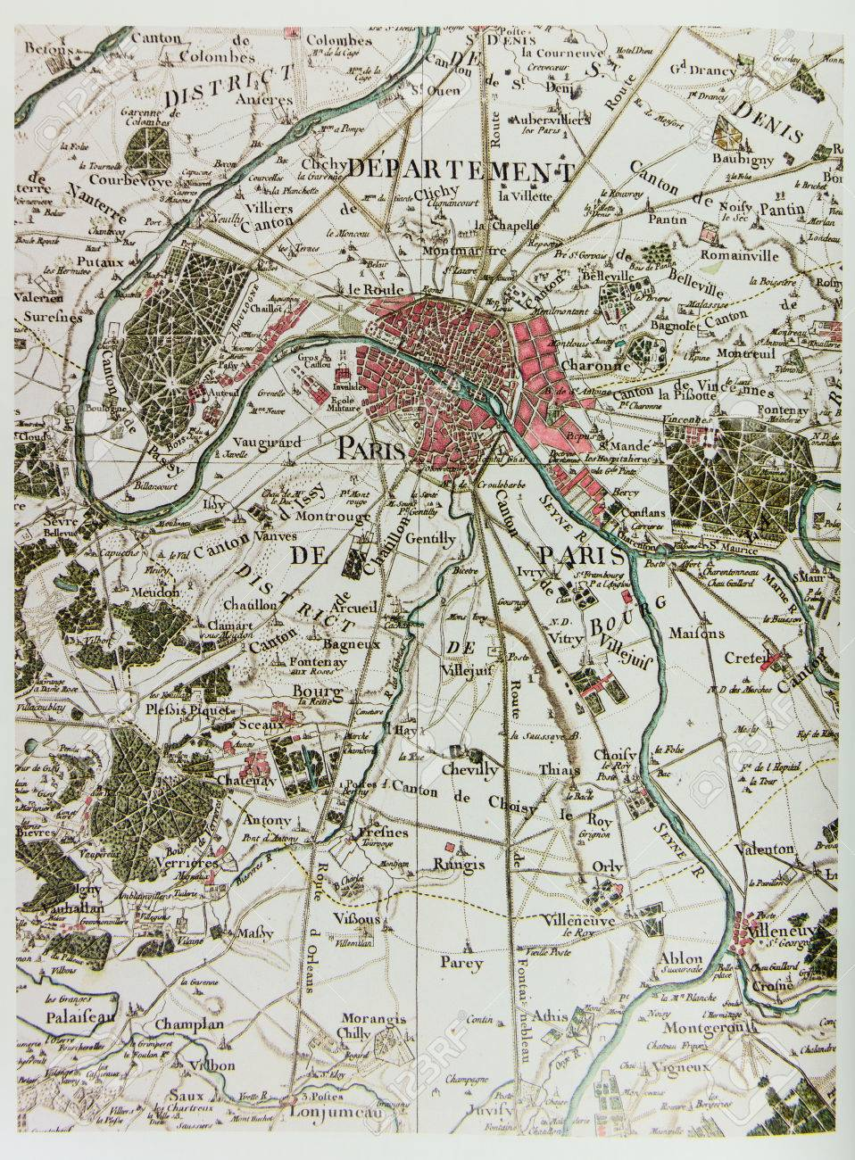 Historical Map Of Paris France 1789 Photo From Old Reproduction