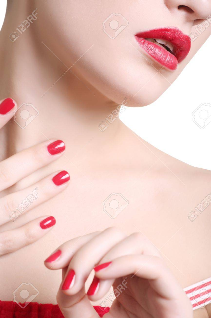 Face of the beautiful girl with maik-up close up, sharpness on lips, isolated on a white background Stock Photo - 4467645