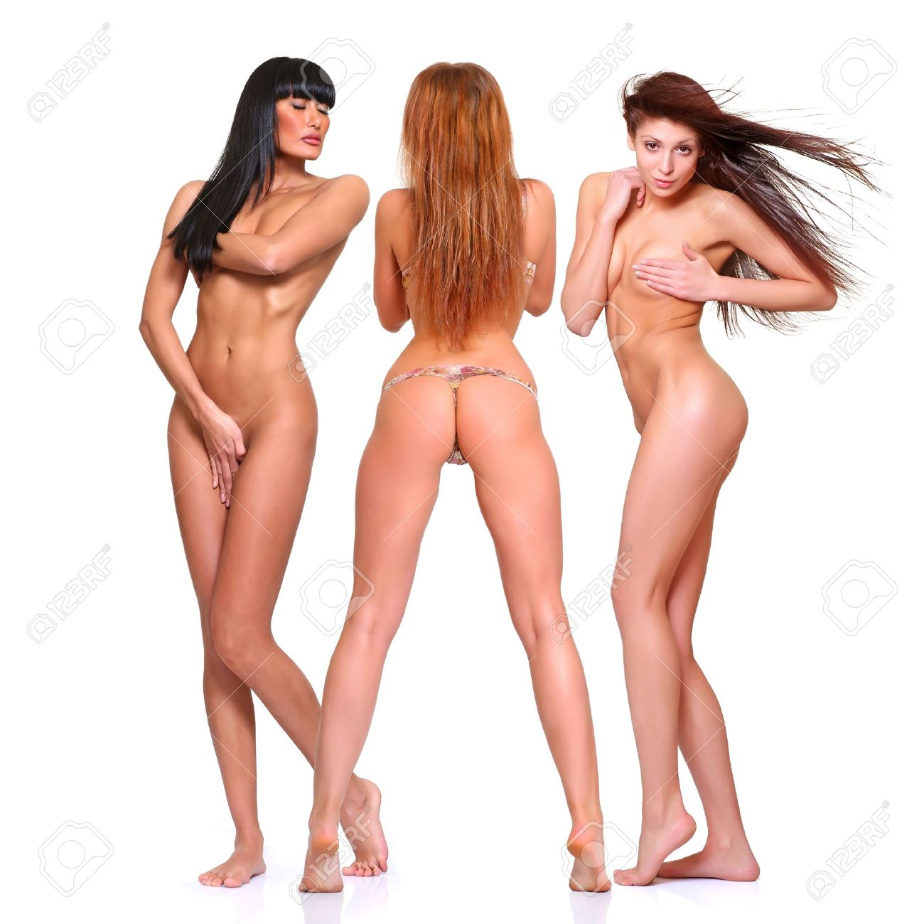 Beautiful naked womans poses covering itself hands Stock Photo - 4592407