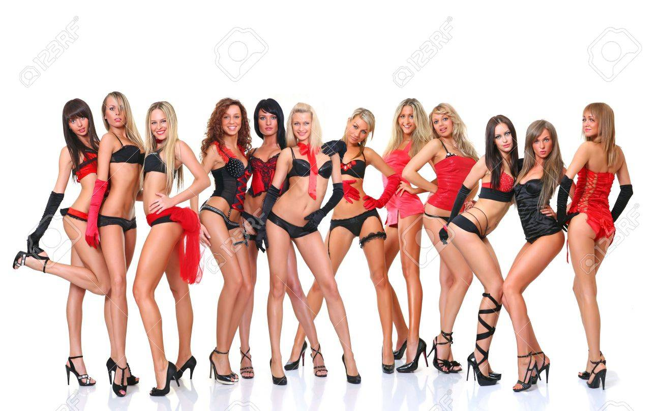 Group from twelve beautiful young women poses in front of the chamber in full growth, isolated on a white background, please see some of my other parts of a body images Stock Photo - 4874097