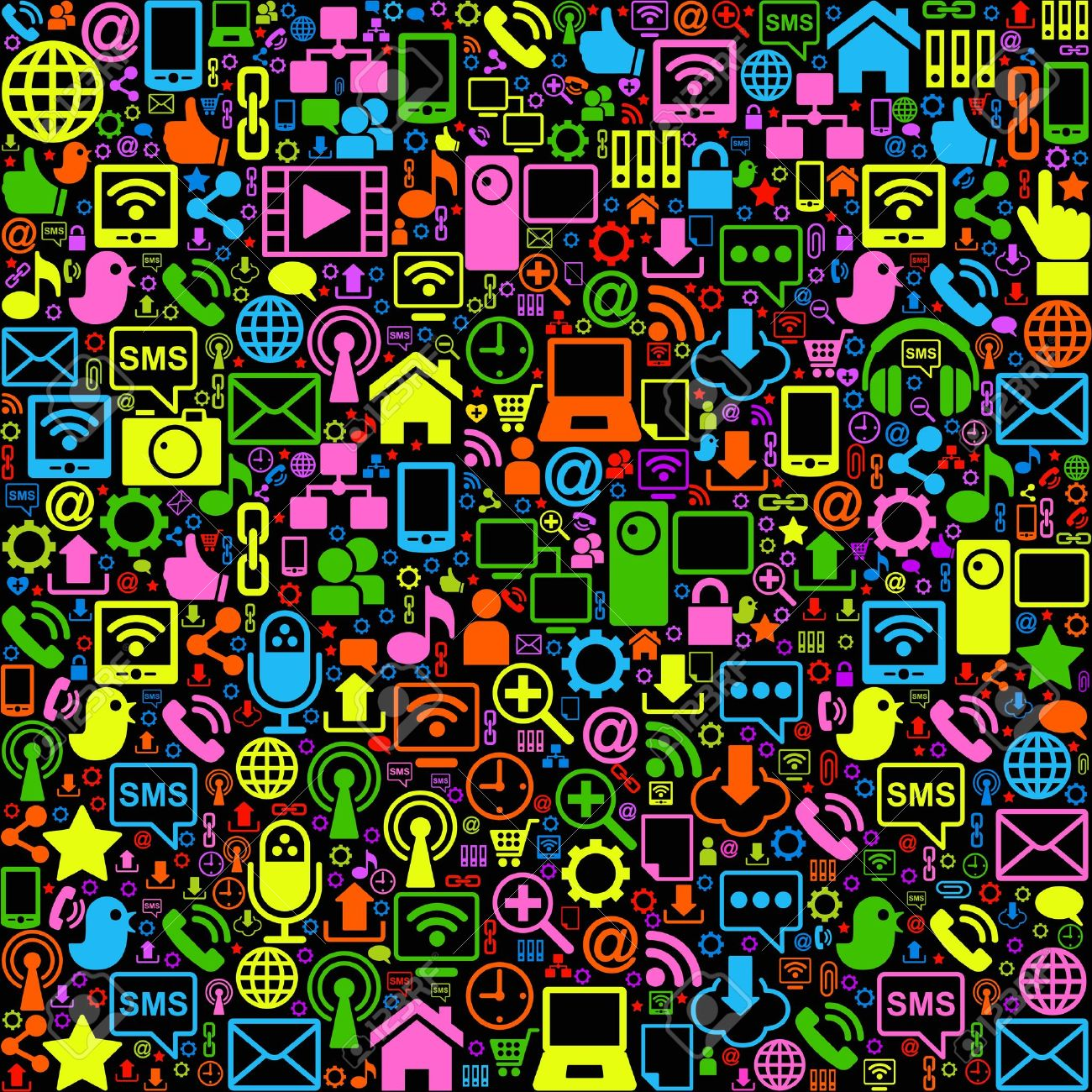 vector background of the icons social computer network Stock Vector - 11888401