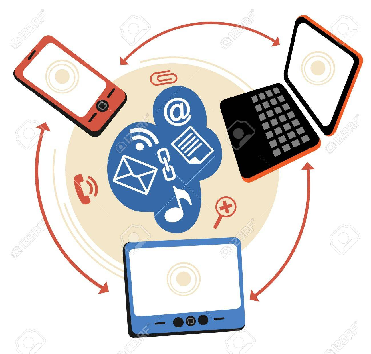 laptop phone tablet  Connection.communication in the global computer networks. Stock Vector - 12186048