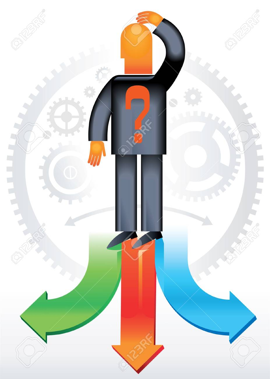 Man chooses the direction  Teamwork of people Man chooses the direction  Teamwork of people This format can be blown up to any size without loss of quality Stock Vector - 12492003