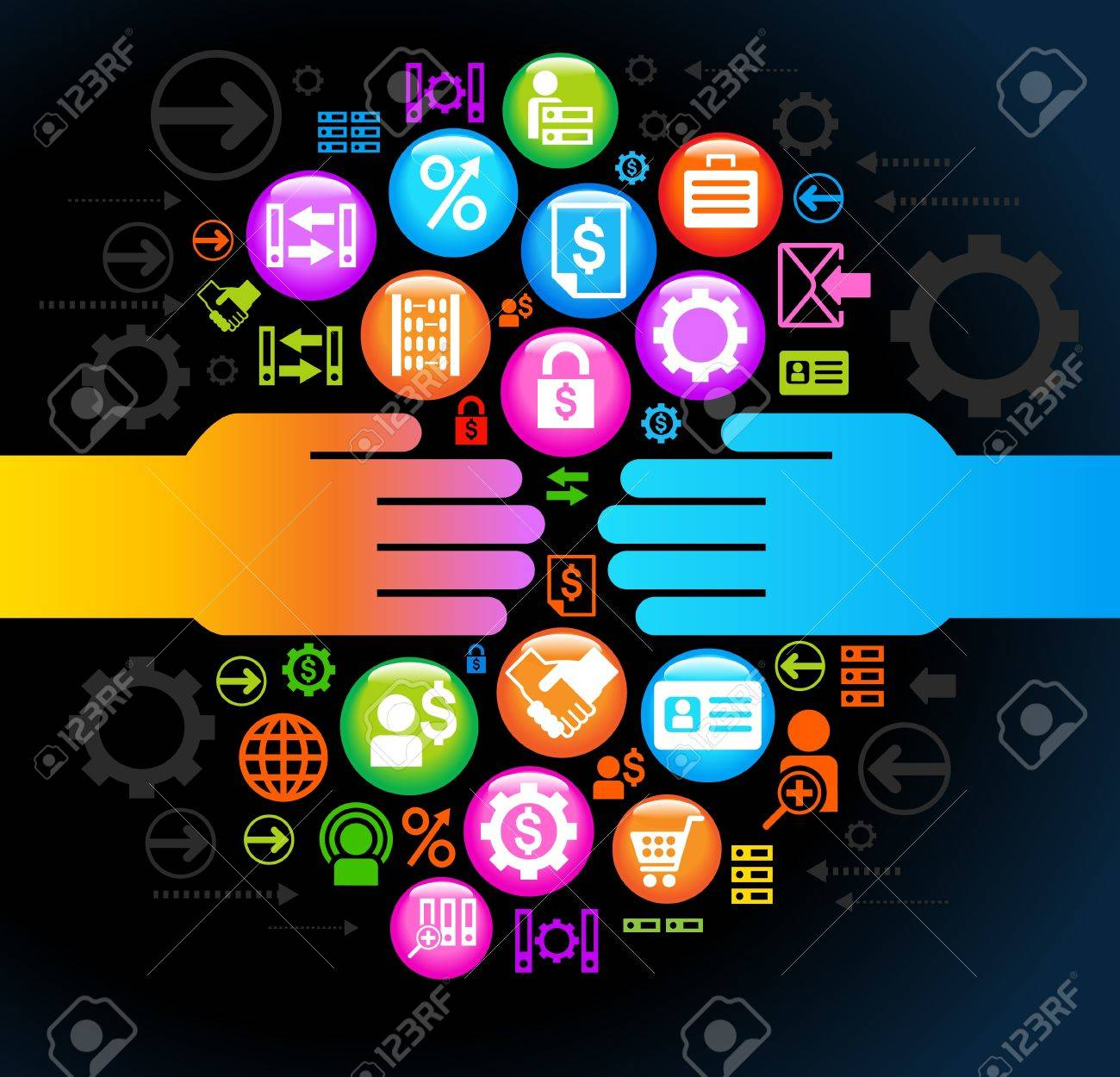 the concept of human communication in the environment of global business Stock Vector - 18021569