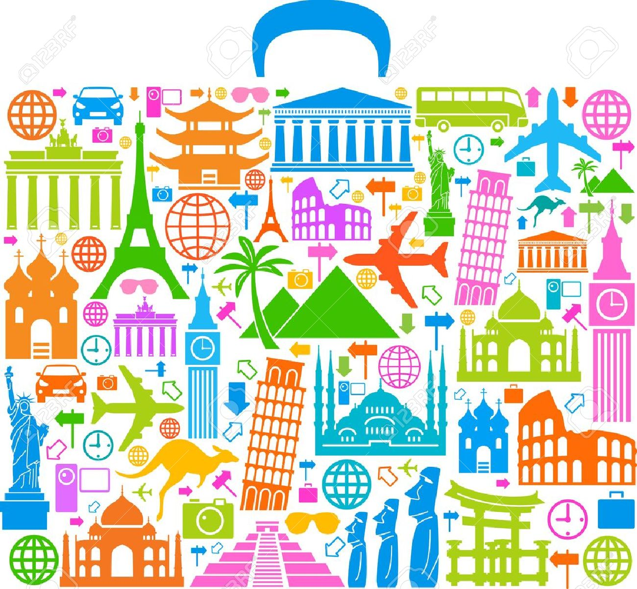 the concept of traveling around the world Famous international landmarks - 18540567