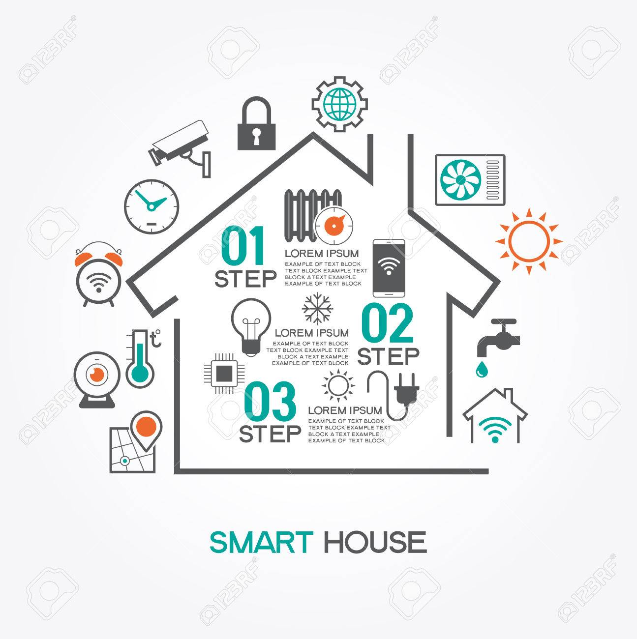 Smart Home System smart home concept smart house infographic concept