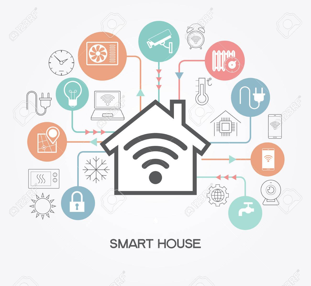 Smart home control concept. Smart house infographic. Concept home with technology system. - 71967223