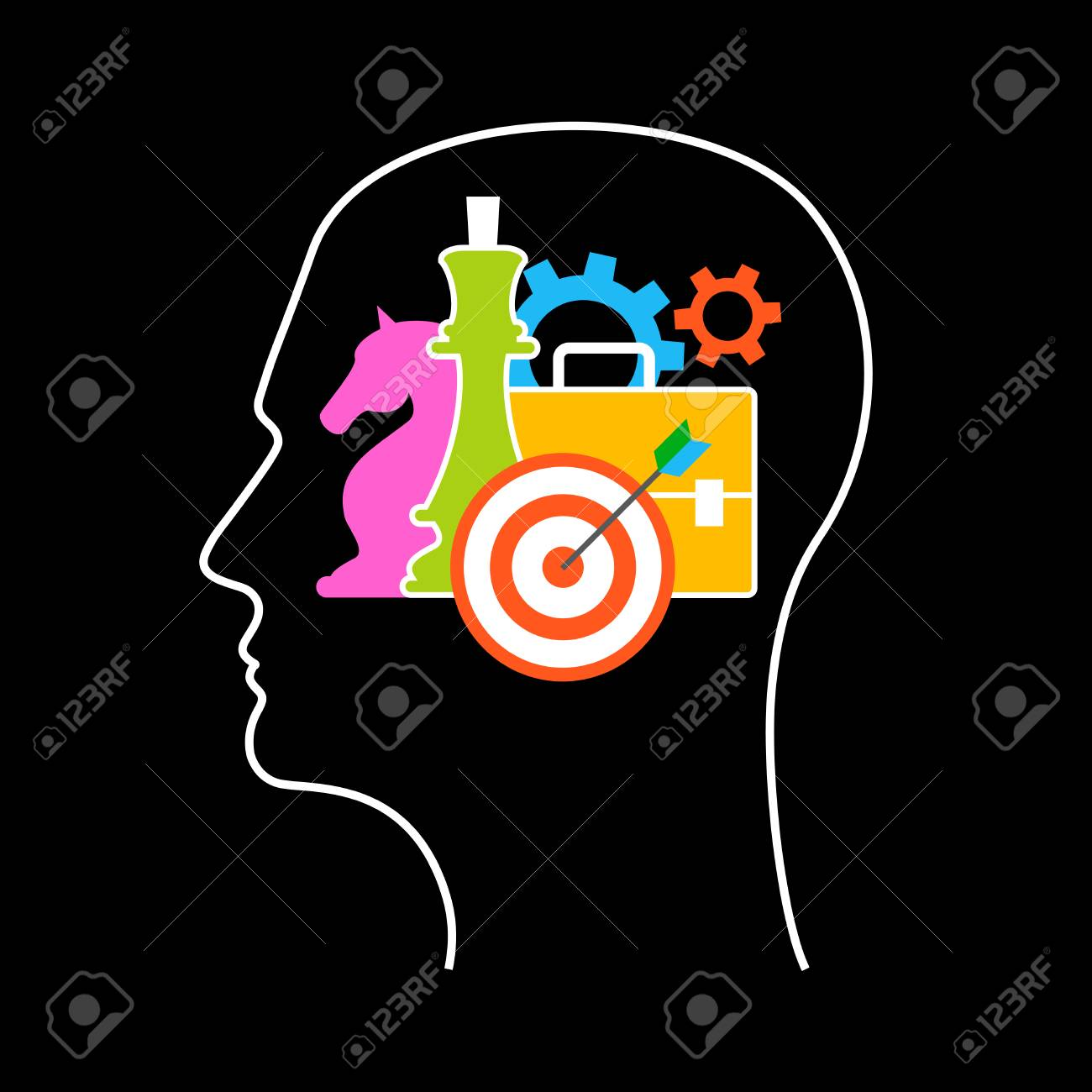 business strategy template human head outline with business
