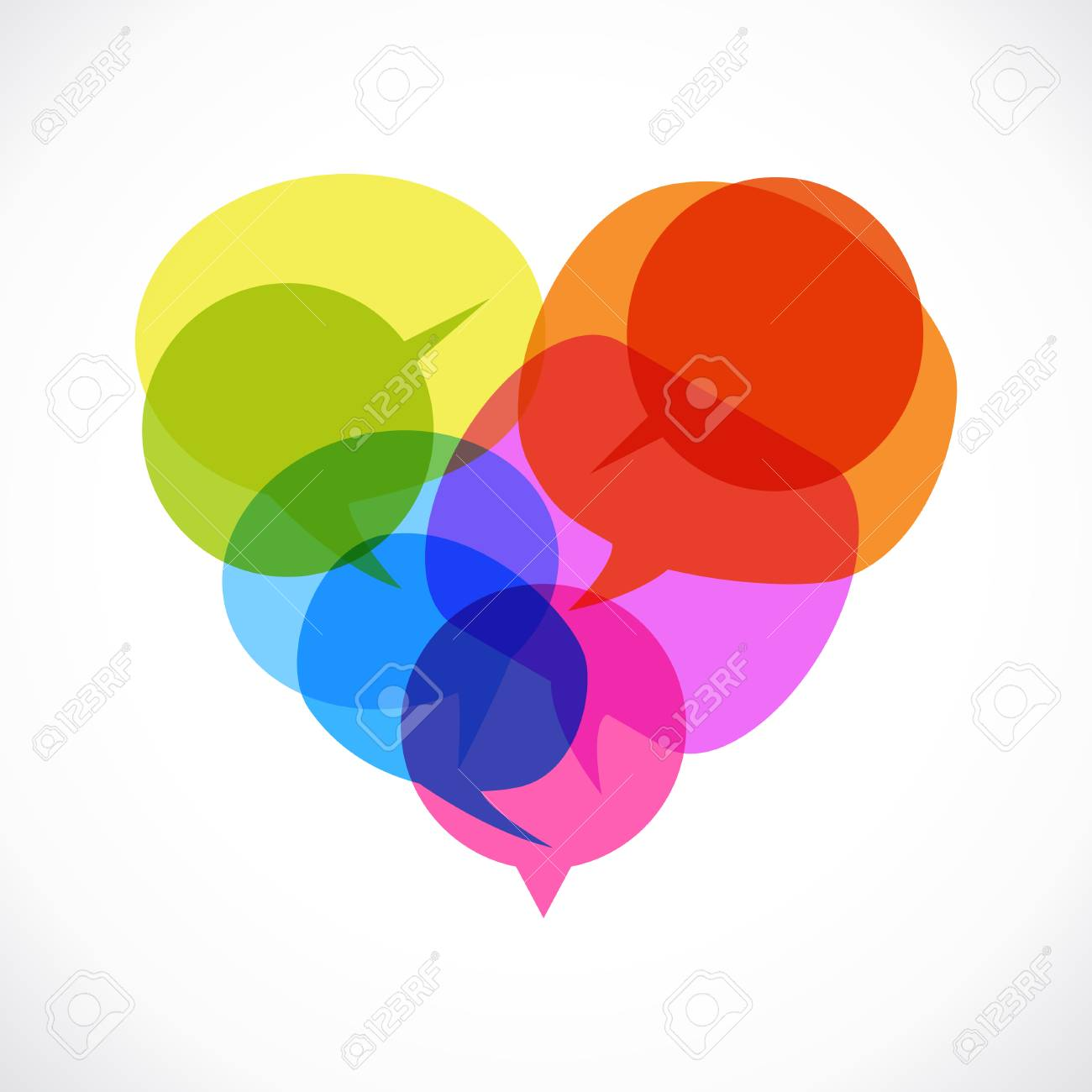 Set of colored speech bubbles in form of heart  The file is saved