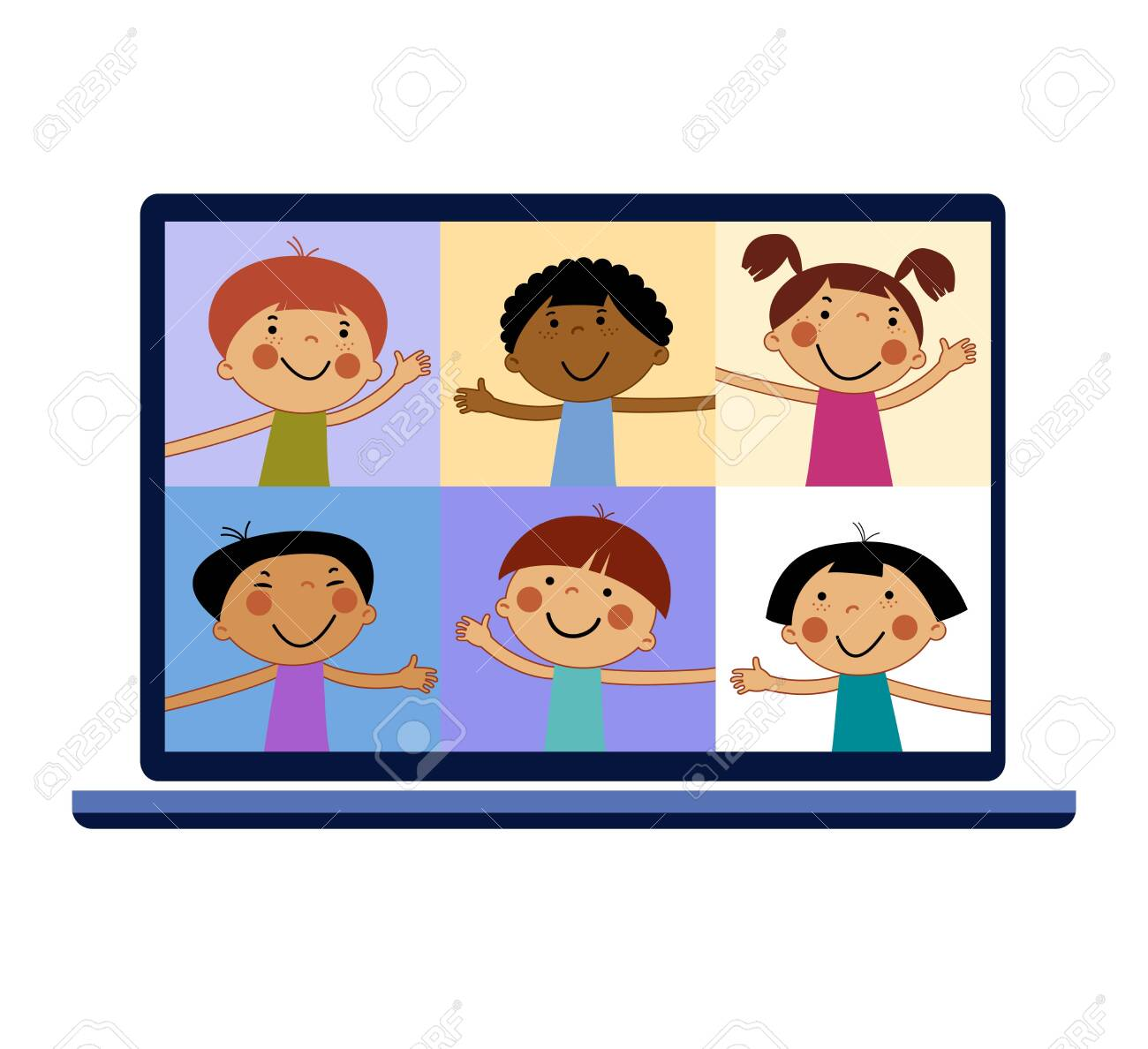 Chat With Child Online Collective Virtual Meeting And Group Video Conferencing Remote Work Concept Royalty Free Cliparts Vectors And Stock Illustration Image 147453585