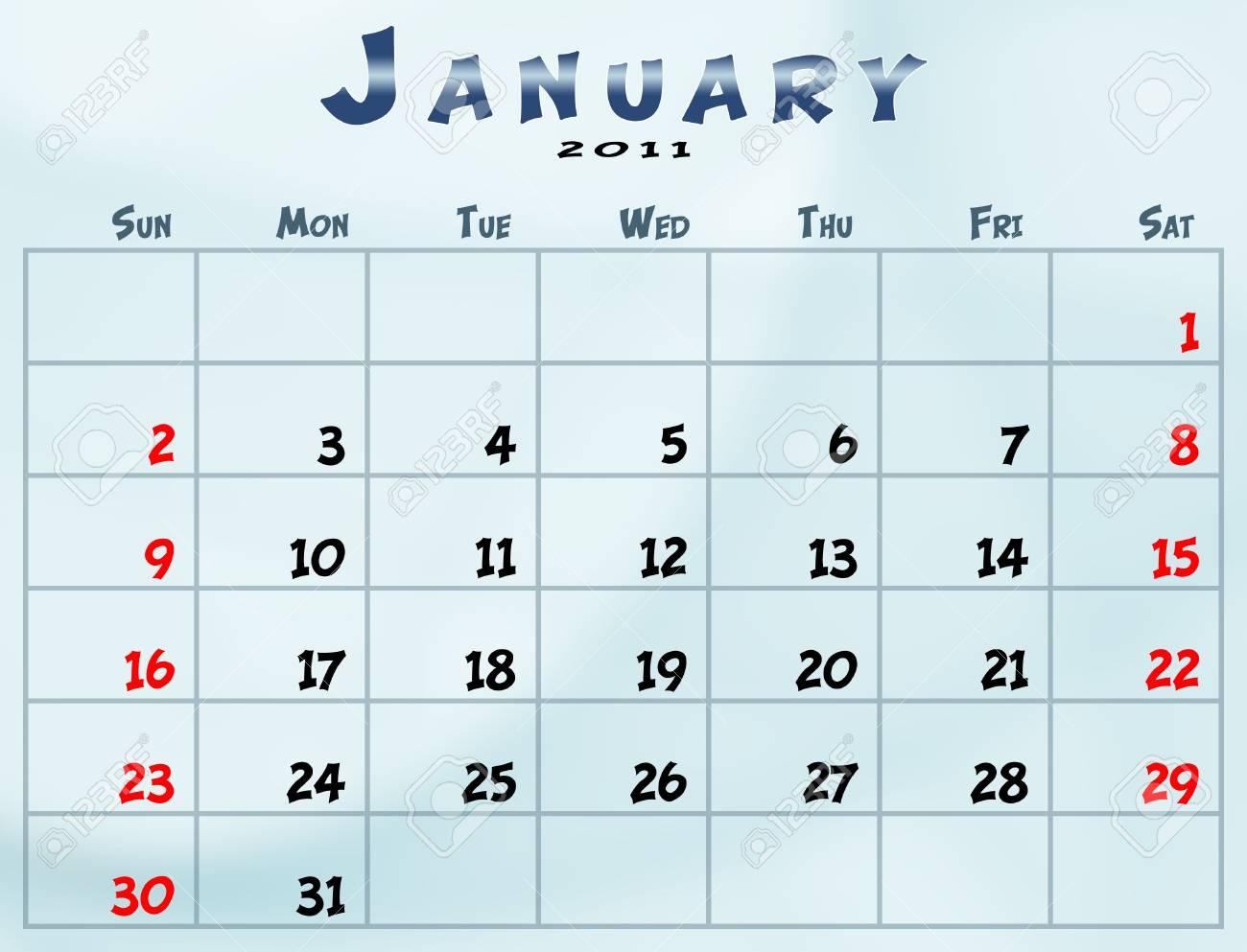 2011 Calendario.Enero De 2011 Calendario Del Domingo Al Sabado