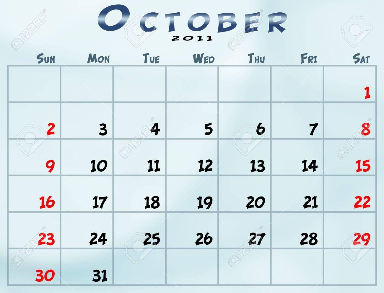 2011 Calendario.October 2011 Calendar From Sunday To Saturday