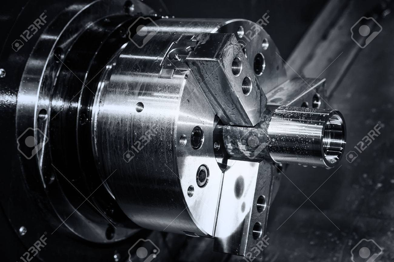 metal gear turning, CNC milling machine close-up - 53831073
