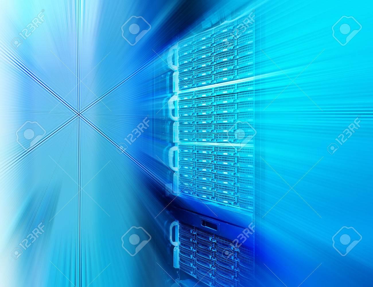 rows of server hardware in data center - 55424206