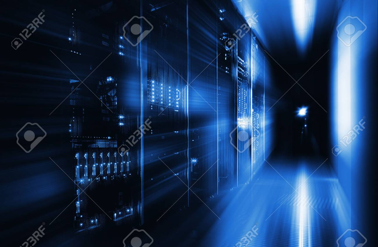 server room in the dark, with bright colored lights - 57233291