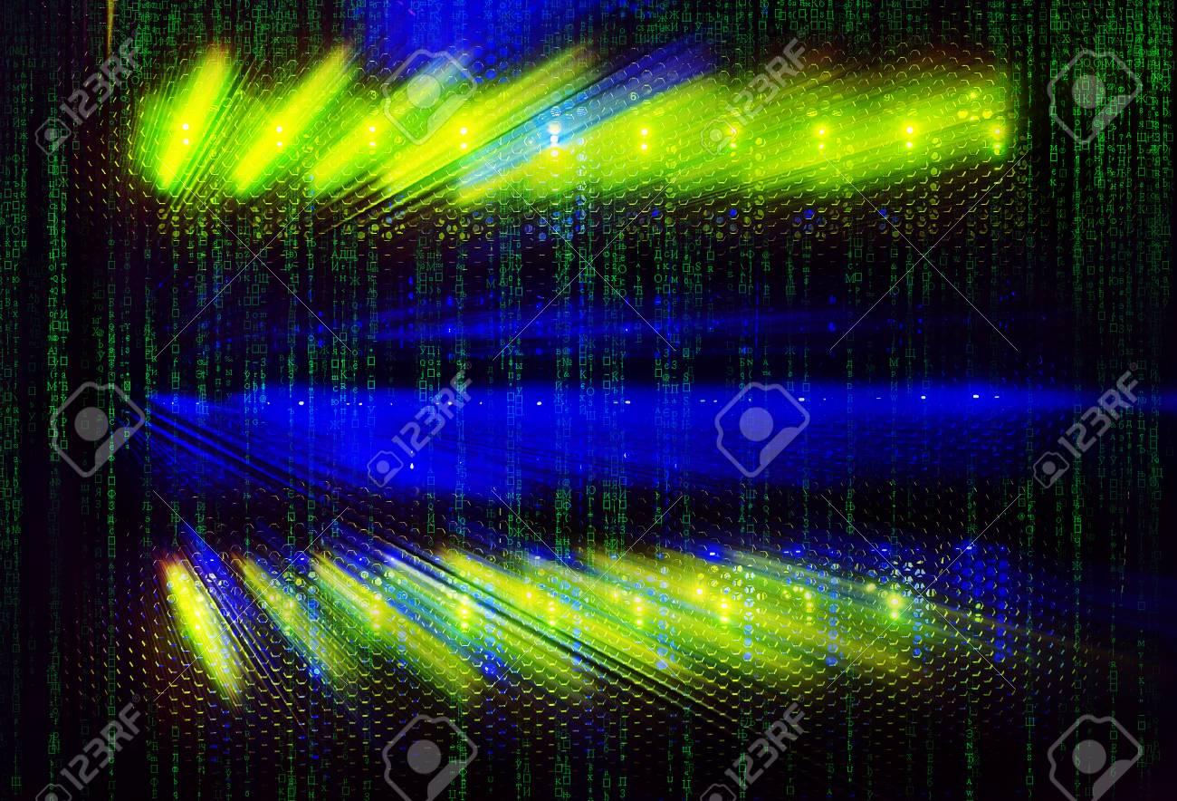 matrix code light indicators on mainframe data center in dark