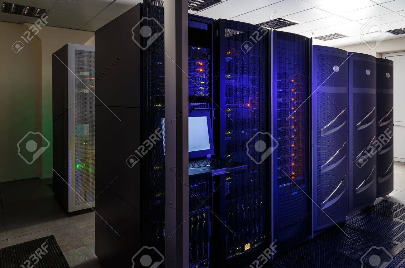 room with modern communication and server equipment - 57313202